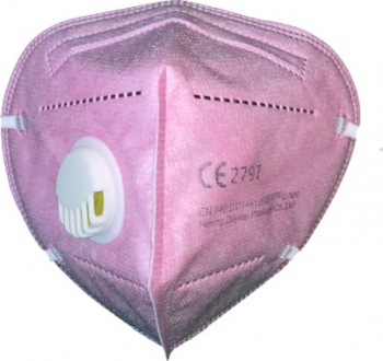 Masca de protectie adulti cu 5 straturi KN95 si supapa de expirare fara uz medical Roz Masti chirurgicale si reutilizabile