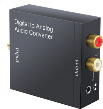 Adaptor convertor semnal audio digital optic sau COAX la RCA L+R si jack 3.5 mm.