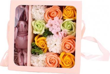Aranjament flori de sapun asortate 12 bucati culoare portocalie
