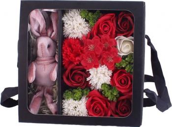 Aranjament flori de sapun asortate 12 bucati culoare rosie