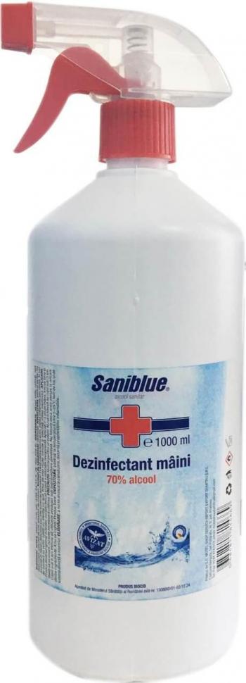 Dezinfectant biocid pentru maini 70 alcool Saniblue 1L avizat Ministerul Sanatatii Gel antibacterian