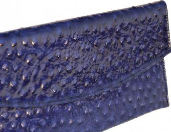 Plic de ocazie albastru imperial piele strut MAGAZINUL DE GENTI