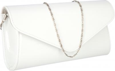 Plic elegant alb imaculat din piele lacuita model 08 MAGAZINUL DE GENTI