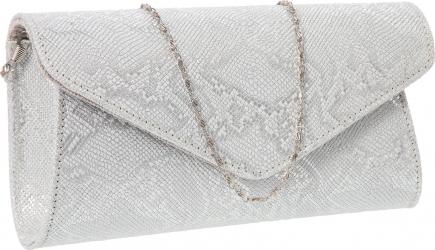 Plic elegant din piele naturala argintiu texturat model 08 MAGAZINUL DE GENTI