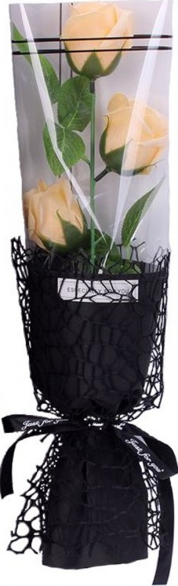Trandafir de sapun intreg 35 cm 3 flori ambalaj de tip buchet elegant + cutie culoare galben