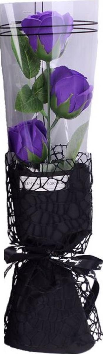 Trandafir de sapun intreg 35 cm 3 flori ambalaj de tip buchet elegant + cutie culoare mov