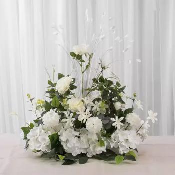 Aranjament floral pentru masa 40x50x60 cm flori artificiale din matase culoare alba