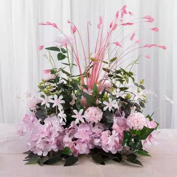 Aranjament floral pentru masa 40x50x60 cm flori artificiale din matase culoare roz