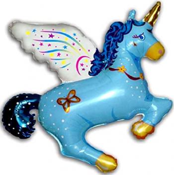 Balon figurina Magic Unicorn albastru 77 cm x 90 cm Decoratiuni petreceri