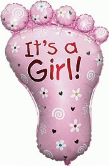 Balon figurina talpa imprimat Its a girl multicolor 87 cm x 60 cm Decoratiuni petreceri