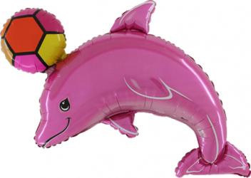Balon figurina delfin cu minge multicolor 101 cm x 64 cm Decoratiuni petreceri