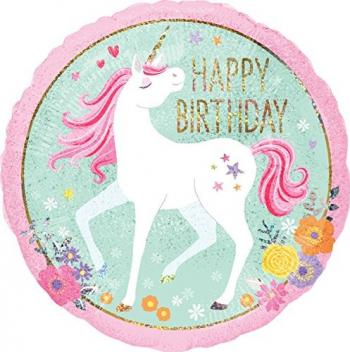 Balon folie Magic Unicorn Happy Birthday multicolor 45 cm Decoratiuni petreceri