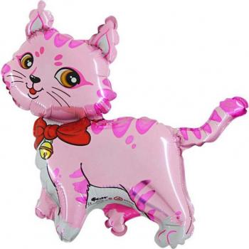Balon mini figurina Pisica roz 30 cm Decoratiuni petreceri