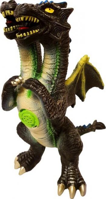 Dragon cu 2 Capete si Aripi din material moale sunete 45 cm