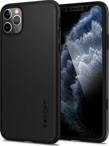 Husa Premium Spigen Thin Fit 360 Grade Pentru iPhone 11 Pro Max negru Cu Folie Sticla Inclusa Huse Telefoane