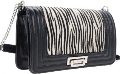 Poseta tip Chanel din piele naturala neagra si model zebra MAGAZINUL DE GENTI