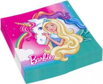 Set 20 servetele Barbie multicolor 33x33 cm Cani, pahare, accesorii masa