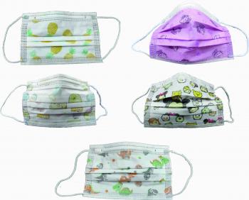 Set 50 buc. masca de protectie faciala pentru copii unica folosinta 3 straturi colorata/desene diverse