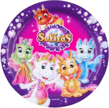 Set 8 farfurii din carton Safiras multicolor 23 cm Cani, pahare, accesorii masa