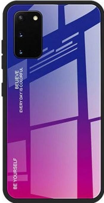 Husa Spate Upzz Gradient Glass Pentru Samsung Galaxy A41 spate Sticla Rezistenta Roz-mov