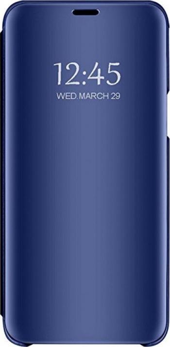 Husa Tip Carte Mirror Huawei P30 Lite Cu Folie Sticla Upzz Glass Inclusa In Pachet Albastru