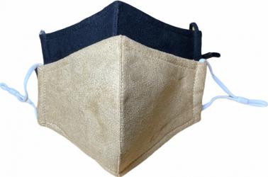 Masca protectie reutilizabila tip piele intoarsa set 2 bucati negru si bej Masti chirurgicale si reutilizabile