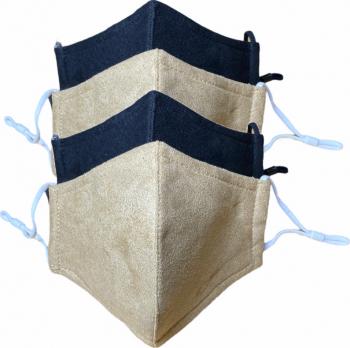 Masca protectie reutilizabila cu aspect de piele intoarsa set 4 bucati negru si bej Masti chirurgicale si reutilizabile