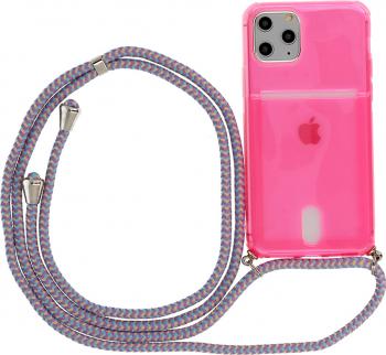 Husa G-Tech Fluo iPhone 11 Pro Fosforescenta Snur prindere la gat reglabil Antishock Buzunar pentru card Roz Neon Huse Telefoane