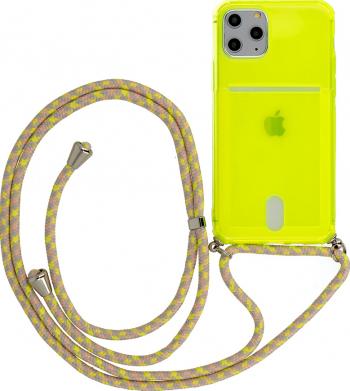 Husa G-Tech Fluo iPhone 11 Pro Fosforescenta Snur prindere la gat reglabil Antishock Buzunar pentru card Galben Neon Huse Telefoane