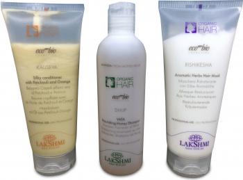 Pachet 3 produse pentru ingrijirea parului uscat Lakshmi sampon 250 ml balsam 200 ml masca par 200 ml Tratamente de par
