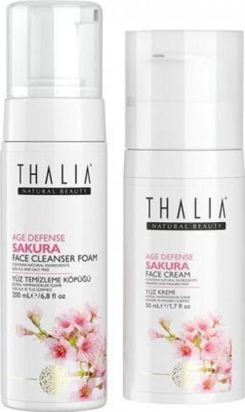 Pachet ingrijire fata Thalia Natural Beauty Crema de fata Sakura age defence 50ml + Spuma de curatare fata 200ml