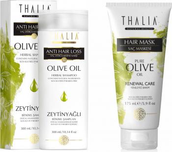 Pachet ingrijire par Thaia Natural Beauty Sampon anticadere cu ulei de masline 300ml + Masca de par cu ulei de masline si unt Sampon