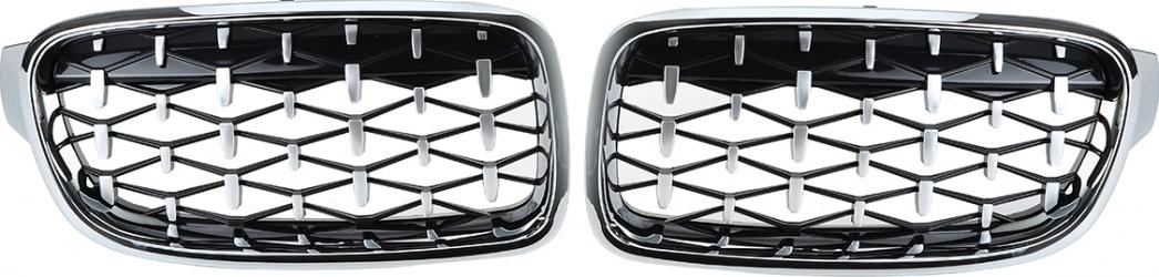 Rinichi 2PCS Front Grill Grille Diamond Chrome pentru BMW Seria 3 F30 F35 F80 2011-2019