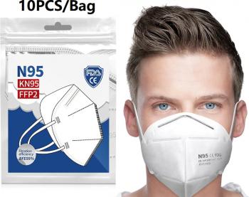 set 10 Masti FFP2KN95 de protectie faciala culoare Alba 5straturi Masti chirurgicale si reutilizabile