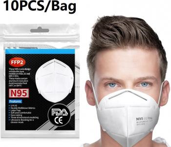 Set 20 bucati masca respiratorie clasa de protectie N95N95 FFP2 5 straturi Masti chirurgicale si reutilizabile