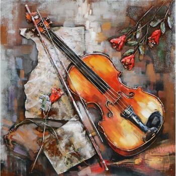 Tablou metal 3D Violin 80 x 80 Maro deschis Tablouri