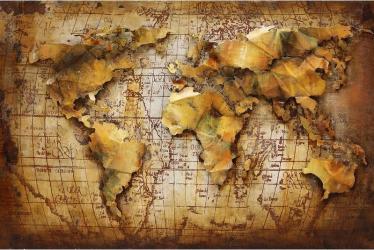 Tablou metal 3D World Map 120 x 90 Maro deschis Tablouri