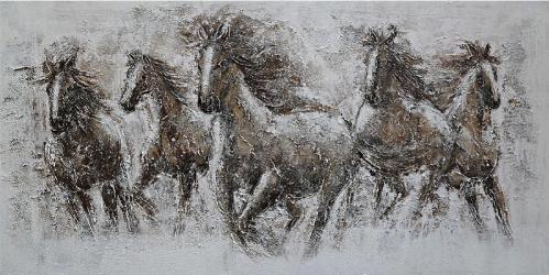 Tablou pictat manual 5 Horses 80 x 160 cm Maro deschis Tablouri