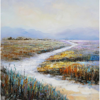 Tablou pictat manual Dunes 100 x 100 cm Galben Tablouri