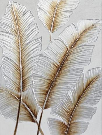 Tablou pictat manual Feathers Gold 80 x 60 cm Alb Tablouri