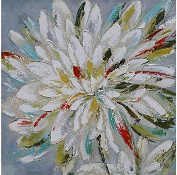 Tablou pictat manual Flower Big 100 x 100 cm Alb Tablouri