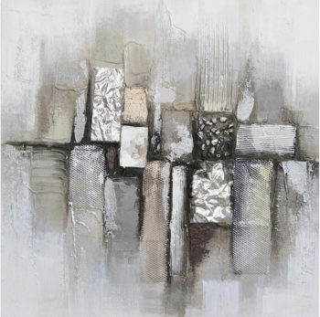 Tablou pictat manual Modern Silver squares 80 x 80 cm Alb murdar Tablouri