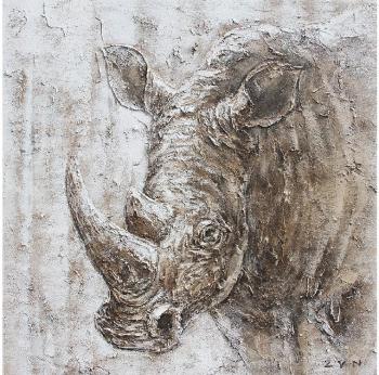 Tablou pictat manual Rhino 100x100 cm Gri Tablouri