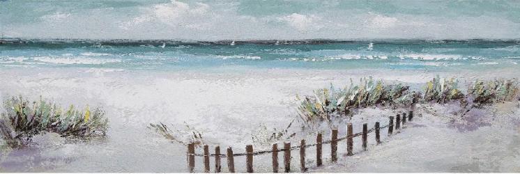 Tablou pictat manual Sea and dunes 50 x 150 cm Portocaliu Tablouri