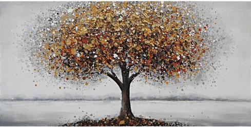 Tablou pictat manual Tree gold 60 x 120 cm Galben Tablouri