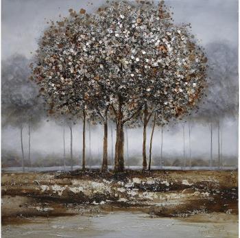 Tablou pictat manual Trees silver 100 x 100 cm Gri Tablouri