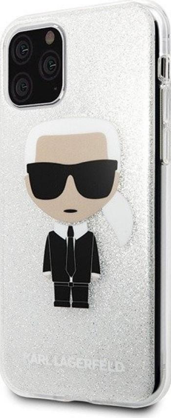 Husa Premium Karl Lagerfeld iPhone 11 Pro Max Glitter Karl Argintiu Silicon Huse Telefoane