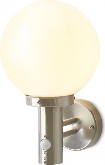 Lampa felinar exterior tip balon cu senzor 1 x 60 W metal si sticla Corpuri de iluminat
