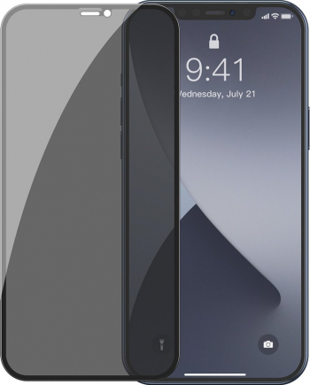 Folie Sticla Baseus 2 x Tempered Glass 0.3mm Privacy iPhone 12/12 Pro Negru Folii Protectie
