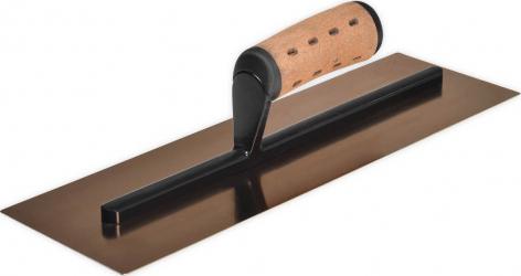 Gletiera Finisaj Profesionala Premium ZuperPRO cu lama Semiflexibila din INOX 0.5 mm Margini Rotunjite Maner Extrausor din Pluta 35.6x12 cm Scule constructii
